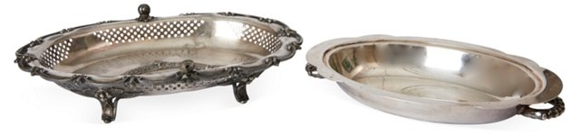 Oval Silverplate Trays, Pair