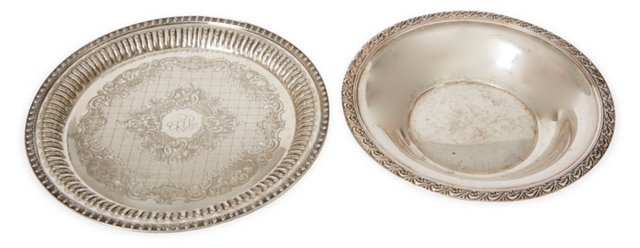Silverplate Trays, Set of 2