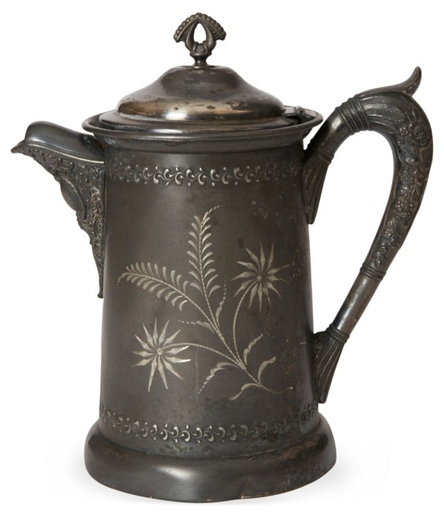 Etched Silver Teakettle