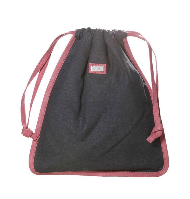 Drawstring Shoe Bag, Gray/Berry