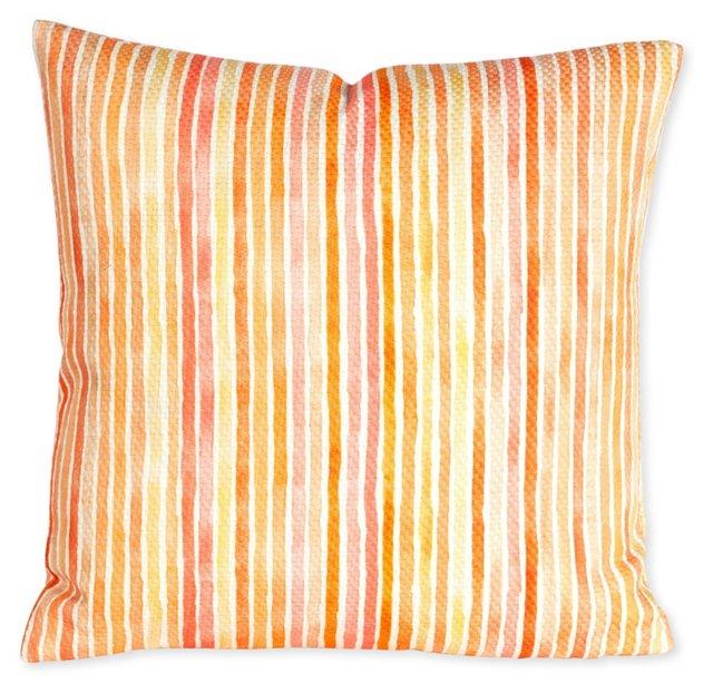 Outdoor Striped Pillow, Citrus