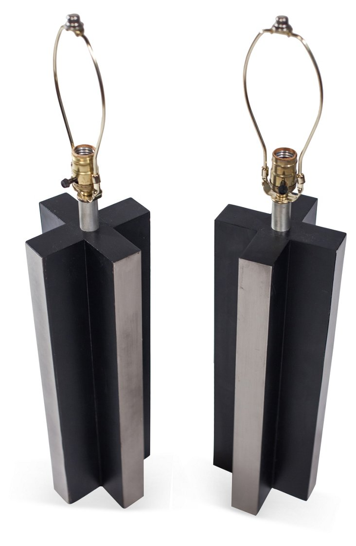 1970s X-Base Lamps, Pair