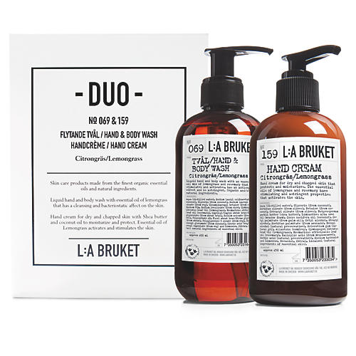 L:A Bruket Lemongrass Hand Wash/Cream Duo Kit