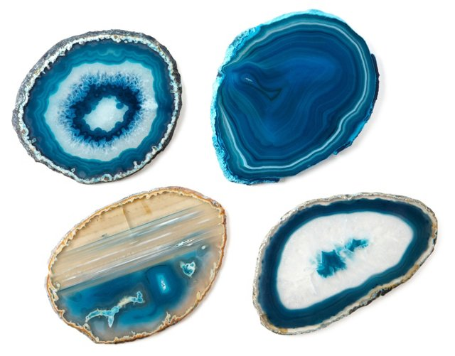Asst of 4 Agate Stone Coasters, Teal