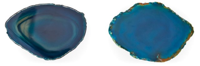 S/2 Agate Knobs, Teal
