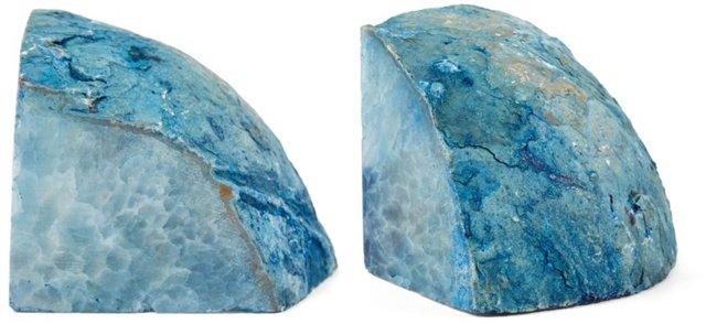 Pair of Agate Bookends, Blue