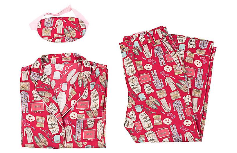 Netflix and Chill Silk Pajama Set w/ Eye Mask, Red