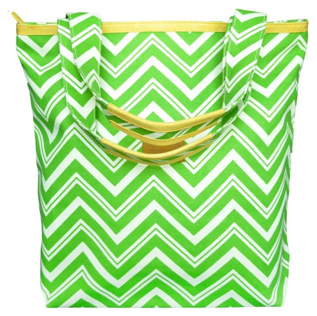 Zippered Canvas Tote, Lime