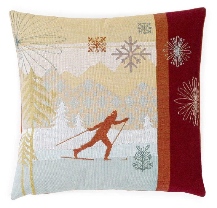 Skiier 19x19 Pillow, Red/Multi