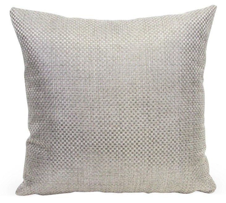 "Opulent 18"" Weave Pillow, Silver"