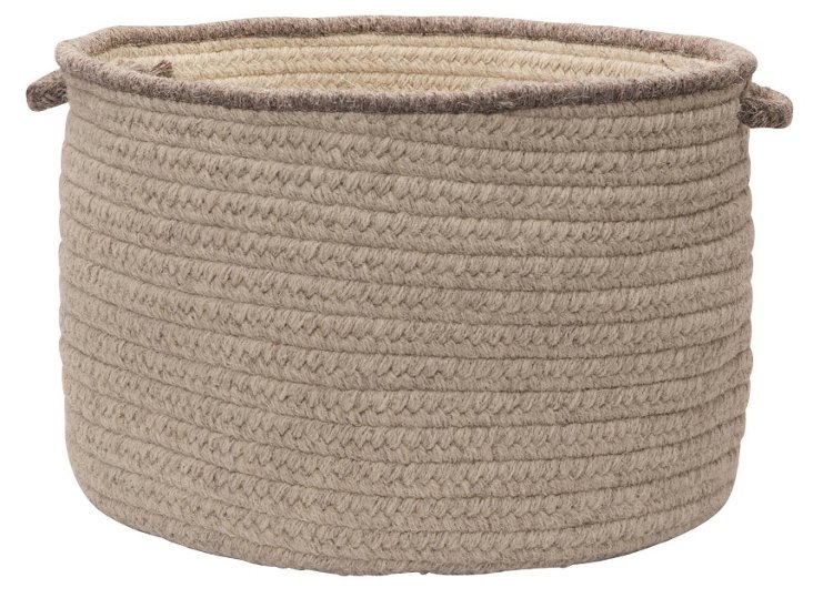 "Wool Basket, 24"" Cobblestone"