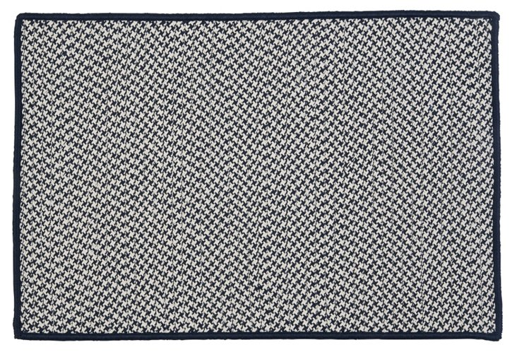 Houndstooth Outdoor Rug, Navy/White