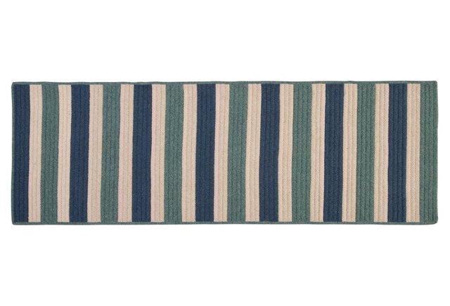 2'x8' Stripe Runner, Teal/Blue/Natural
