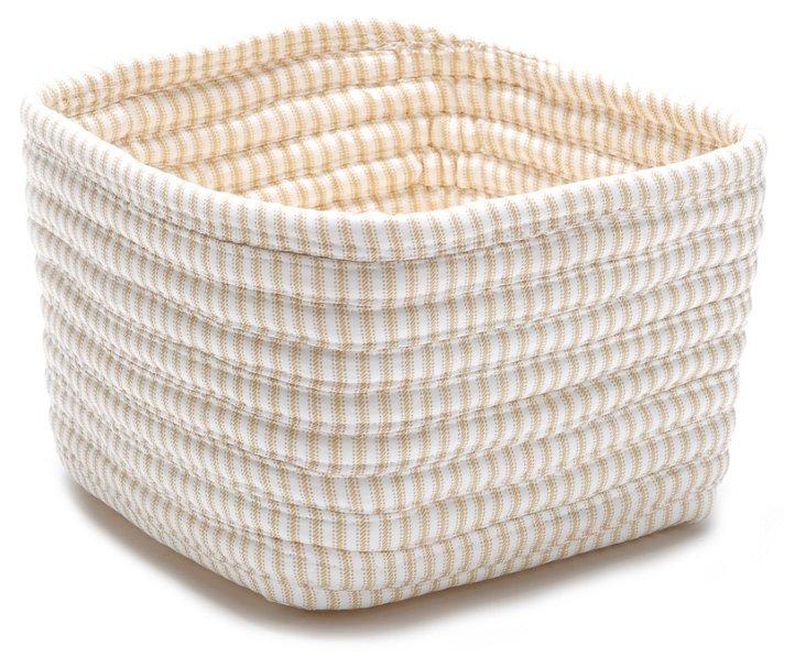 Ticking Shelf Square Basket, Canvas