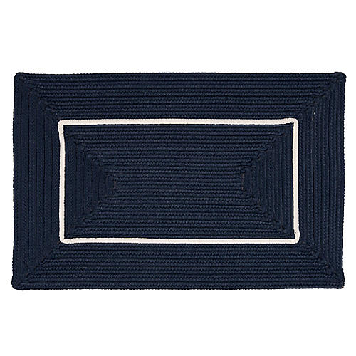 Accent Doormat, Navy/White