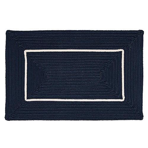 Accent Doormat, Navy/White