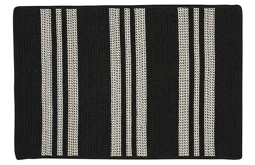 Sunbrella Stripe Outdoor Rug, Black
