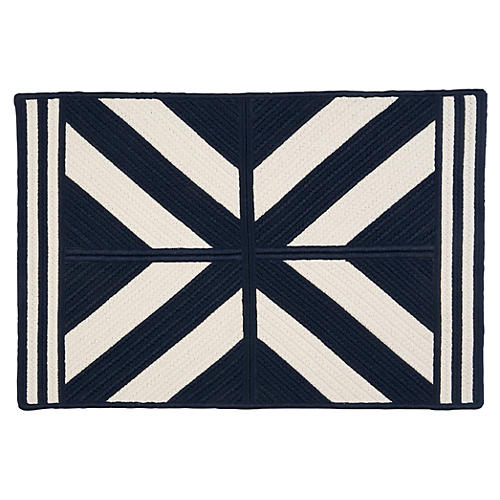Diamond Outdoor Rug, Navy/White