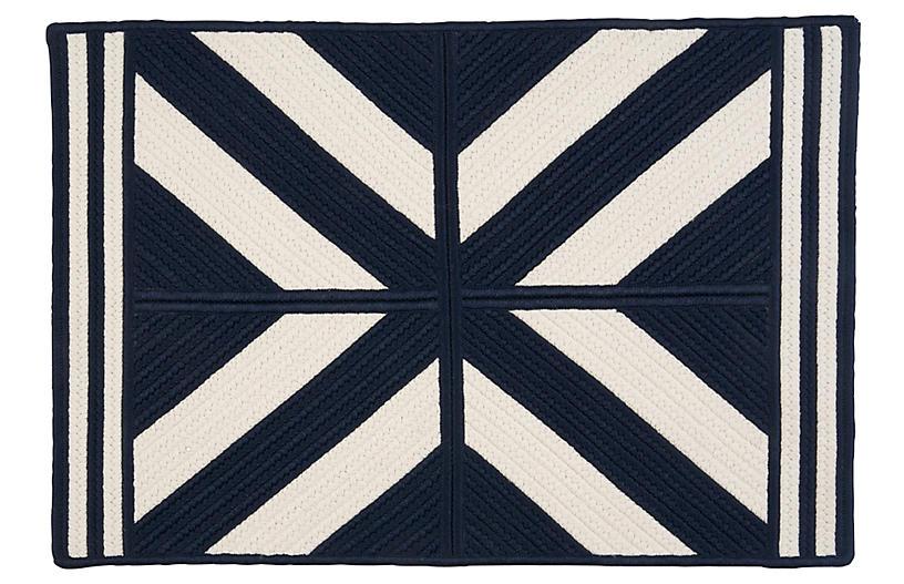 Diamond Outdoor Rug, Navy/White