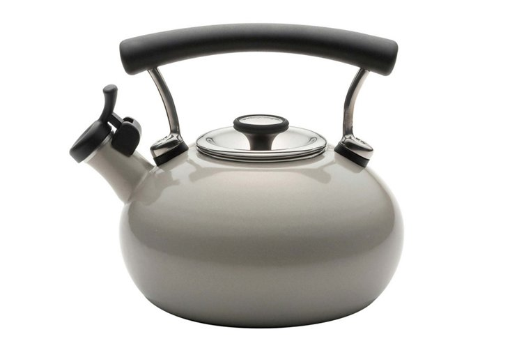 2 Qt Whistling Tea Kettle, Warm Silver