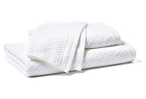 3pc Chevron Jacquard Towel Set, White