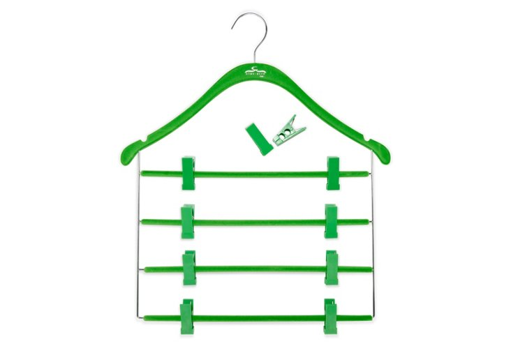 S/10 Pant/Skirt Hangers, Green/Chrome