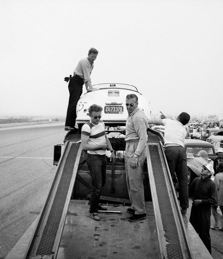 James Dean With Porsche Lithograph