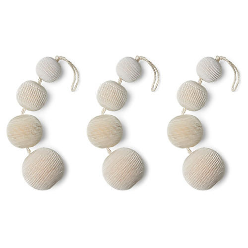 S/3 Dasher Ball Ornaments, Ivory