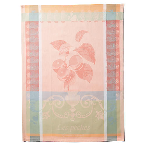 S/4 Peaches Kitchen Towels, Peach/Multi