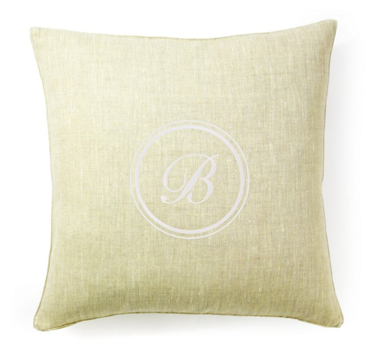 Monogram 18x18 Linen Pillow, Yellow