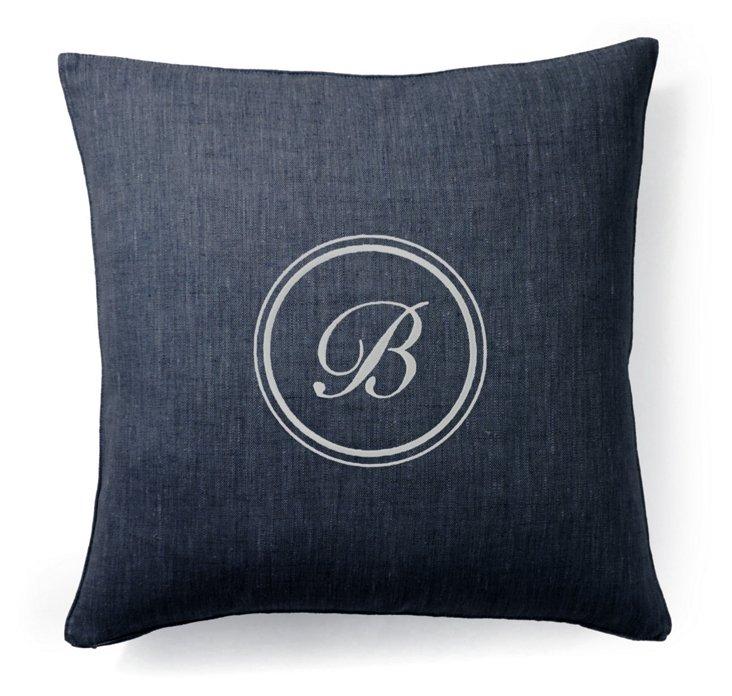 Monogram 18x18 Linen Pillow, Navy