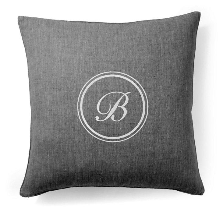 Monogram 18x18 Linen Pillow, Gray