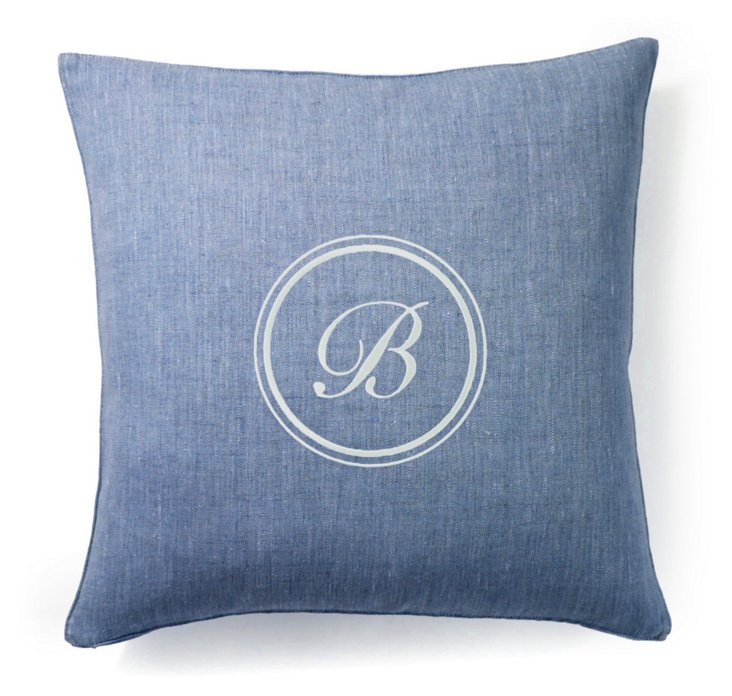 Monogram 18x18 Linen Pillow, Denim
