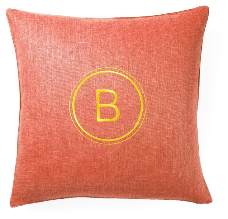 Monogram 18x18 Linen Pillow, Mai Tai