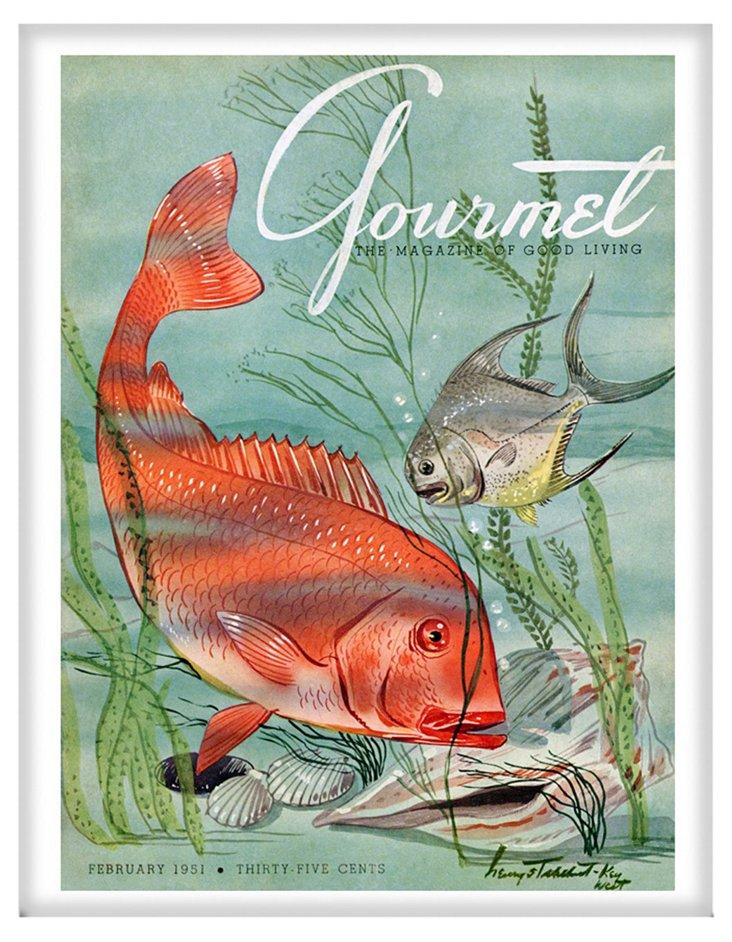 Framed Gourmet Cover, February 1951