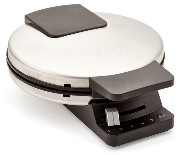 Classic Round Waffle Maker, Silver