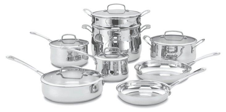 13-Pc Contour Cookware Set, Silver