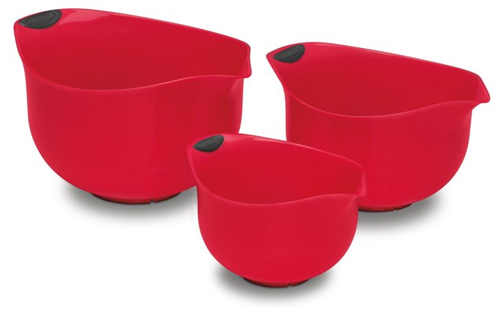 S/3 Assorted Mixing Bowls, Red