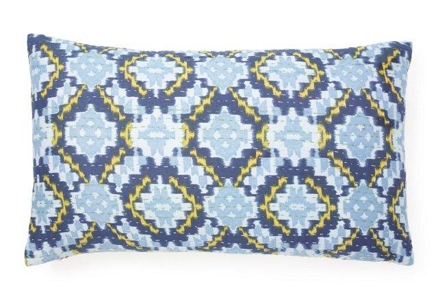 Kantha 14x24 Pillow, Blue Dijon