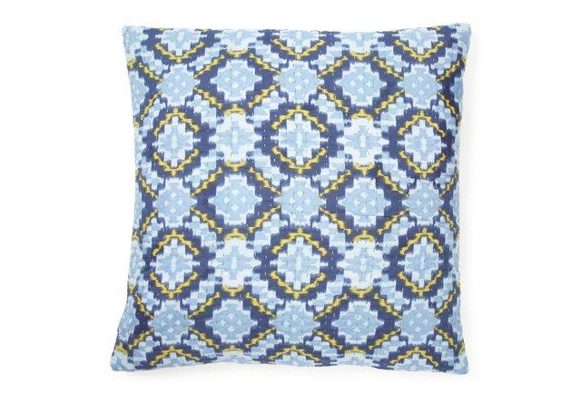 Kantha 24x24 Pillow, Blue Dijon