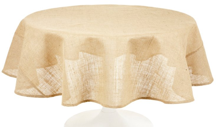 Burlap Round Tablecloth  70""