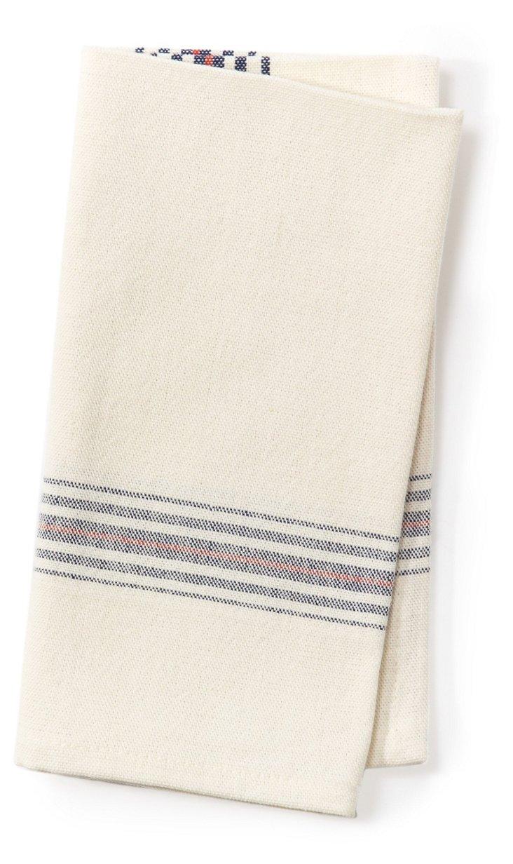 S/4 Khadhi Napkins, White/Beige