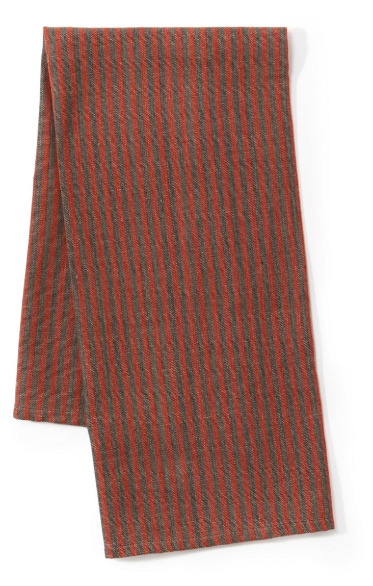 S/2 Khadhi Ticking Towels, Charcoal/Red