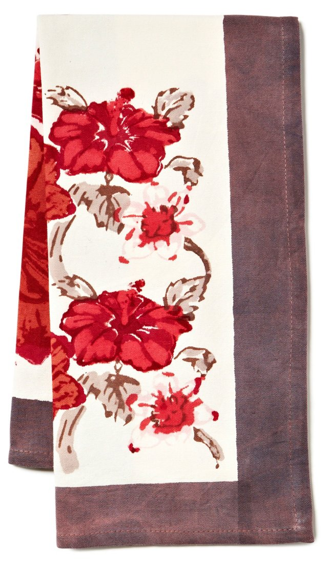 S/3 Exotic Tea Towels, Gray/Red