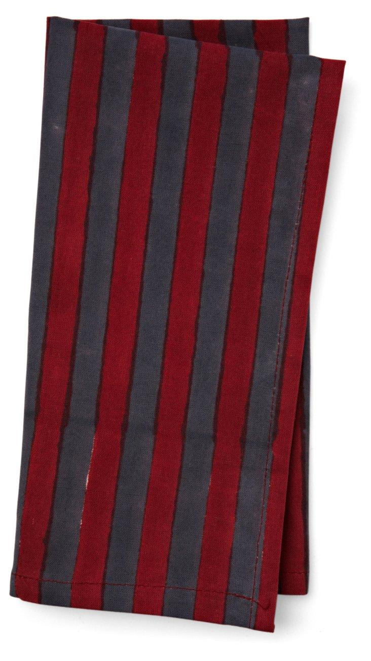 S/6 Stripe Napkins, Gray/Magenta