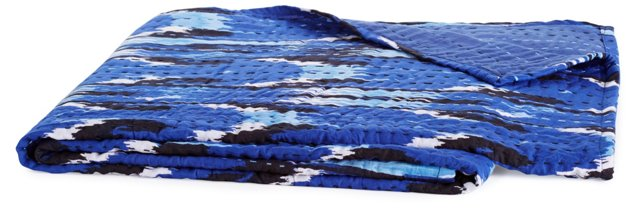 River Hand-Stitched Throw, Blue