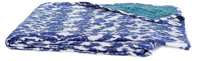 Tide Hand-Stitched Kantha Throw, Blue