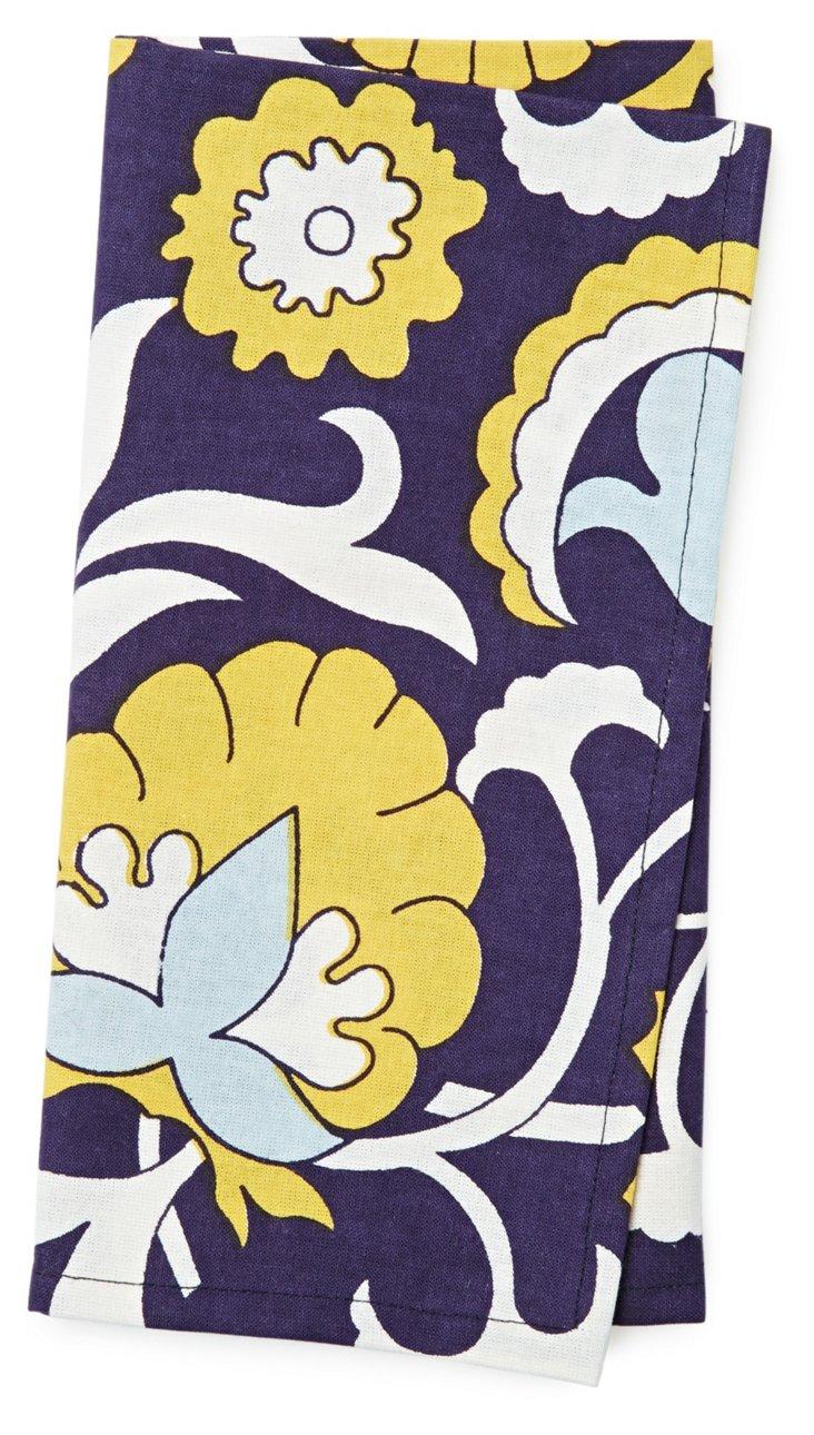S/4 Mod Floral Napkins, Navy