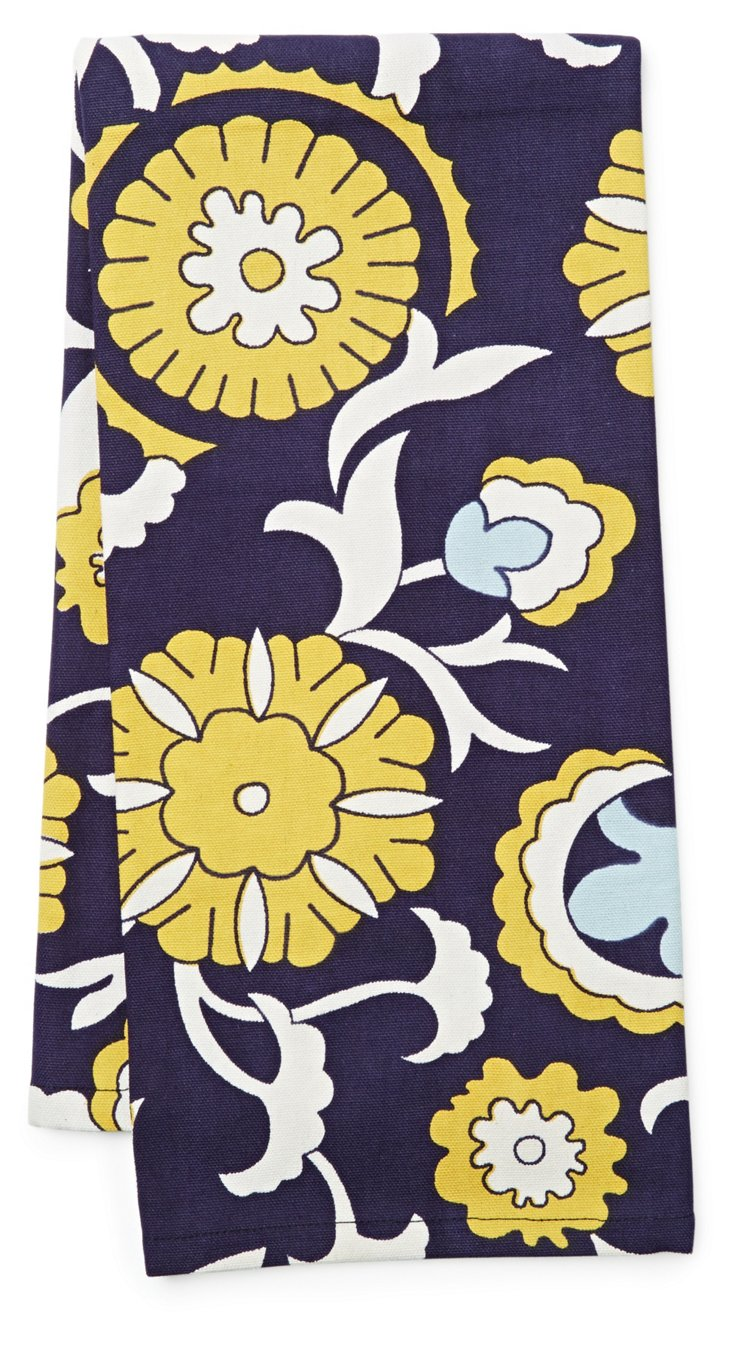 S/3 Floral Tea Towels, Blue/Yellow