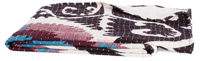 Suzani Hand-Stitched Kantha Throw, Pink